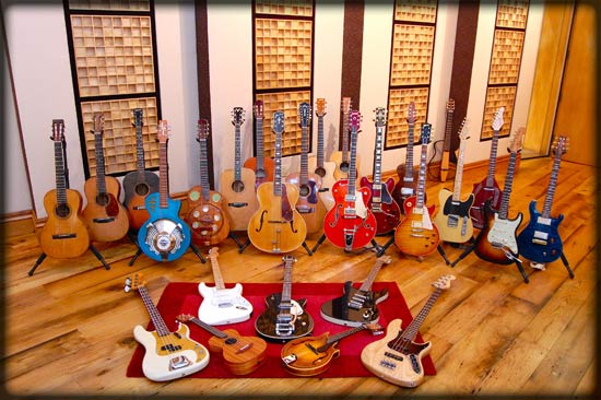Acoustic and Electric guitars available for music recording sessions
